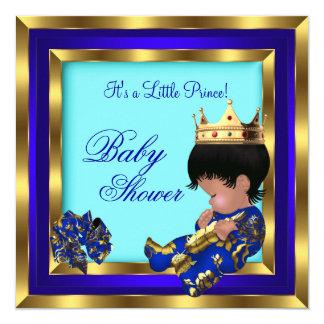 """Príncipe heredero 2 del muchacho del oro del azul invitación 5.25"""" x 5.25"""""""