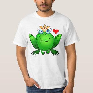 Príncipe heredero con la rana linda del dibujo remeras