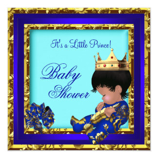 """Príncipe heredero del muchacho del oro del azul invitación 5.25"""" x 5.25"""""""