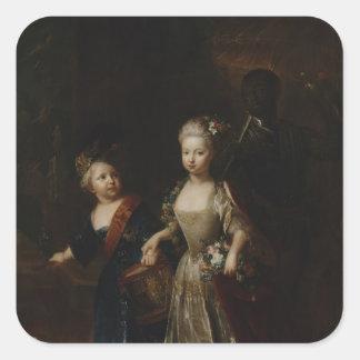 Príncipe heredero Frederick II con la hermana Pegatina Cuadradas