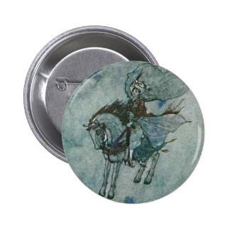 Príncipe Illustration del caballo del ébano de las Pin Redondo De 2 Pulgadas