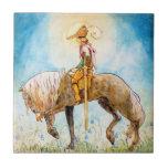 Príncipe joven en un caballo azulejos ceramicos
