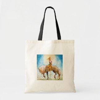 Príncipe joven en un caballo bolsa tela barata