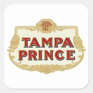 Príncipe LabelVintage de Tampa de los cigarros de Pegatina Cuadrada
