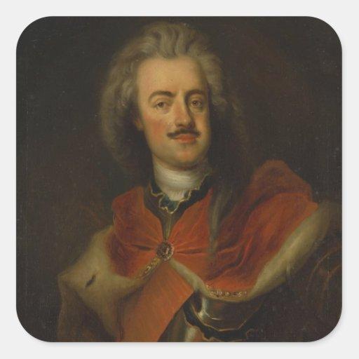 Príncipe Leopold de Dessau Pegatina Cuadradas Personalizadas
