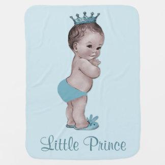 Príncipe lindo azul cielo del vintage manta de bebé