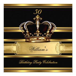 """Príncipe negro real elegante rey 2a del cumpleaños invitación 5.25"""" x 5.25"""""""