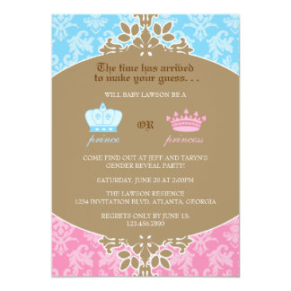 "Príncipe o princesa Damask Gender Reveal Party Invitación 5"" X 7"""