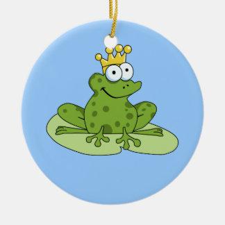 Príncipe Ornament de la rana Adorno Navideño Redondo De Cerámica