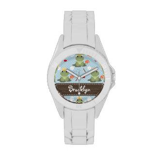Príncipe personalizado de la rana relojes de pulsera