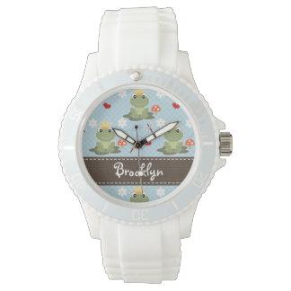 Príncipe personalizado de la rana relojes de mano