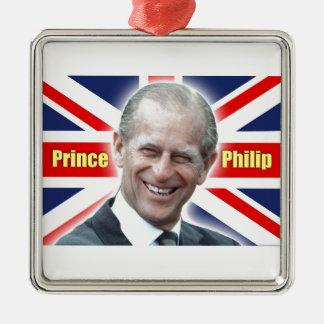 ¡Príncipe Philip de HRH - estupendo! Adorno Navideño Cuadrado De Metal