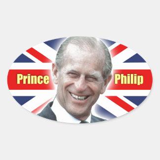 ¡Príncipe Philip de HRH - estupendo! Pegatina Ovalada