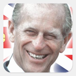 ¡Príncipe Philip de HRH - estupendo! Pegatina Cuadrada