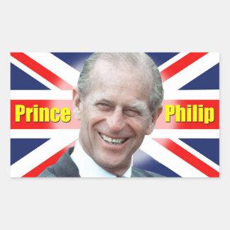 Príncipe Philip de HRH Pegatina Rectangular