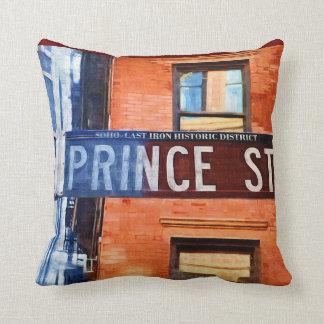Príncipe placa de calle NYC Almohada