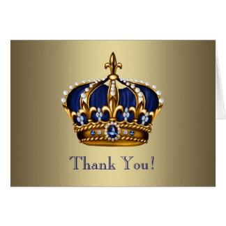 Príncipe real Crown Thank You Cards del oro de los Tarjeta Pequeña