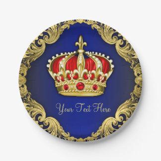 Príncipe real de lujo fiesta de bienvenida al bebé plato de papel de 7 pulgadas