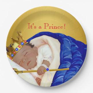 Príncipe real étnico fiesta de bienvenida al bebé platos de papel