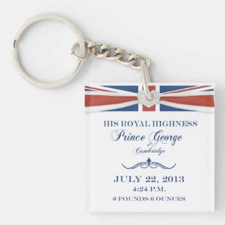 Príncipe real George Commemorative Keychain del be Llavero Cuadrado Acrílico A Una Cara