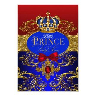 """Príncipe rojo y azul fiesta de bienvenida al bebé invitación 3.5"""" x 5"""""""
