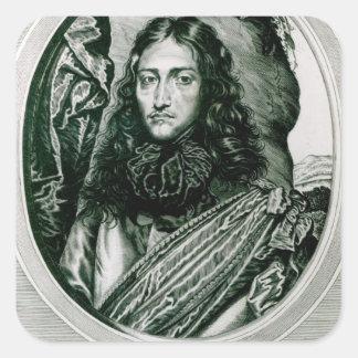 Príncipe Rupert del Rin grabado por Guillermo Pegatina Cuadrada