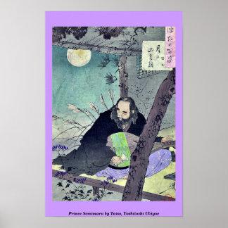 Príncipe Semimaru por Taiso, Yoshitoshi Ukiyoe Póster