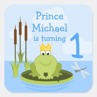 Príncipe Stickers de la rana Pegatina Cuadrada