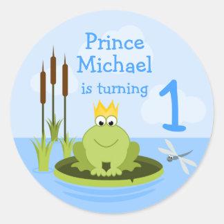 Príncipe Stickers de la rana Pegatinas Redondas