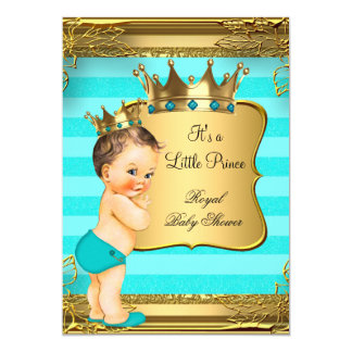 """Príncipe trigueno bebé de la fiesta de bienvenida invitación 5"""" x 7"""""""