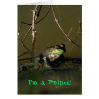 Príncipe Valentine Card de la rana verde Felicitaciones