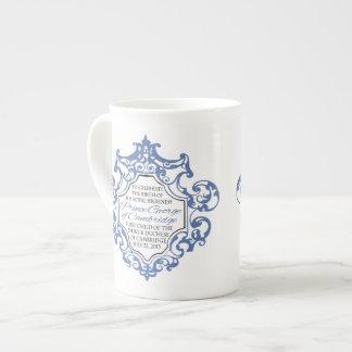 Príncipe voluta de George Blue/blanco de HRH Taza De Porcelana