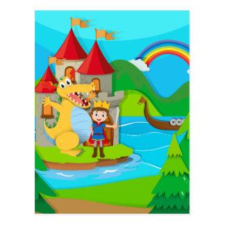 Príncipe y dragón en la tierra de hadas postal