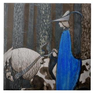 Príncipe y paseo de Tomten a través de las maderas Azulejo Cuadrado Grande