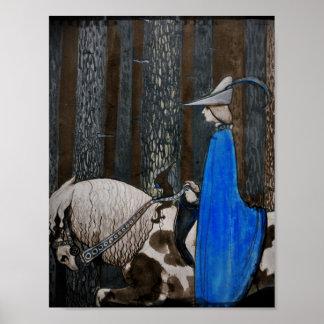 Príncipe y paseo de Tomten a través de las maderas Póster