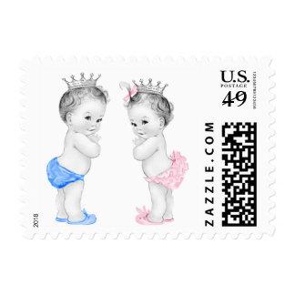 Príncipe y princesa fiesta de bienvenida al bebé sello
