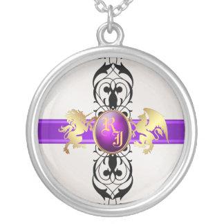 Príncipe y princesa Purple Jewel Monogram Necklace Colgante Redondo