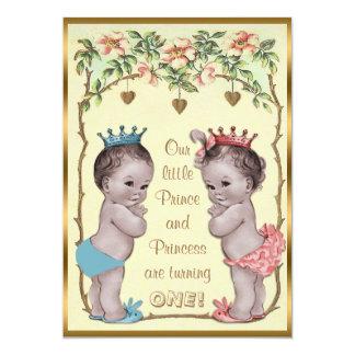 """Príncipe y princesa Twins Birthday del vintage Invitación 5"""" X 7"""""""