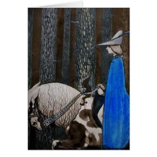 Príncipe y Tomte (gnomo) en el bosque Tarjeta