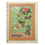 Príncipes de Rajput que cazan osos; un mahout y su Notebook