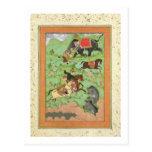 Príncipes de Rajput que cazan osos; un mahout y su Postales