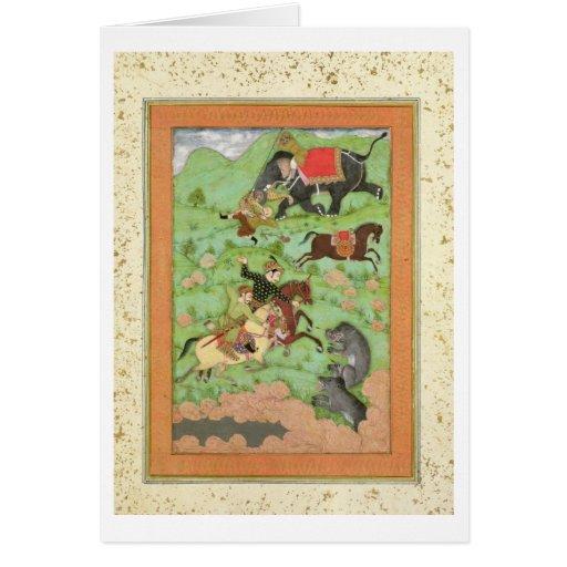 Príncipes de Rajput que cazan osos; un mahout y su Tarjeta De Felicitación
