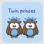 príncipes gemelos del búho pegatina cuadrada