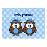 príncipes gemelos del búho plantilla de tarjeta de negocio