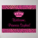 Príncipes Party Banner del leopardo de las rosas f Posters
