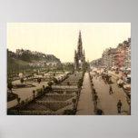 Príncipes Street, el castillo, y monumento de Scot Posters