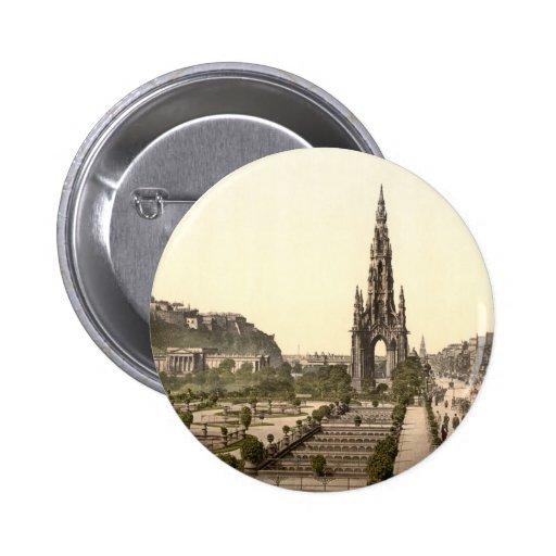 Príncipes Street, el castillo, y monumento de Scot Pin Redondo 5 Cm