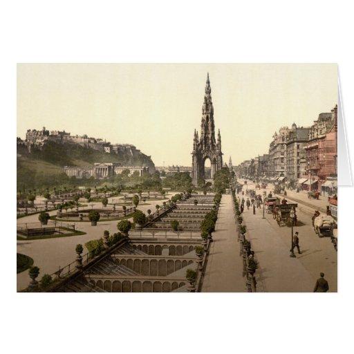 Príncipes Street, el castillo, y monumento de Scot Felicitacion