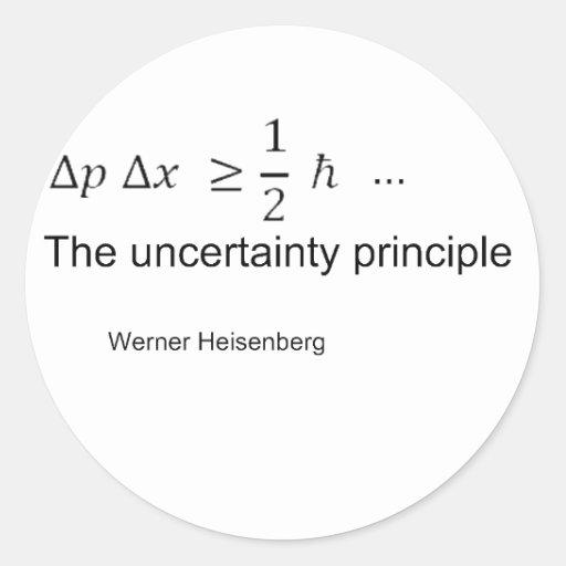 Principio de incertidumbre etiqueta redonda