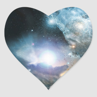 Principio del universo pegatina en forma de corazón